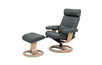 Leather Contrast Stitch Recliner Swivel Chair and Stool