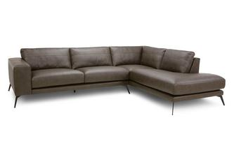 Leather Left Hand Facing Arm Open End Corner Sofa