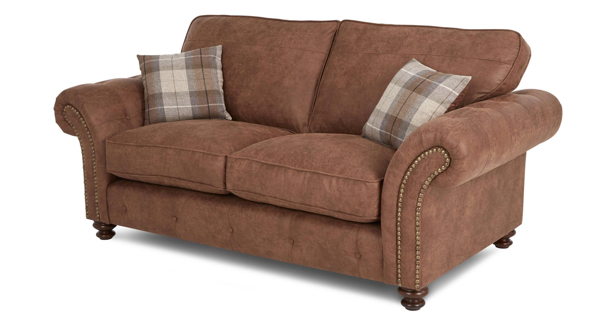 Dfs Oakland Brown Fabric 4 Seater 2 Seater Accent Chair