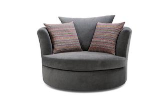 Large Swivel Chair with Pattern Scatters