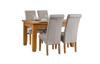 Extending Dining Table & Set of 4 Fabric Scroll Back Chairs Parker Oak