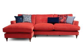 Velvet Left Hand Facing Large Chaise Sofa Patterdale Velvet