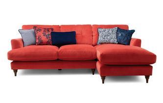 Velvet Right Hand Facing Small Chaise Sofa