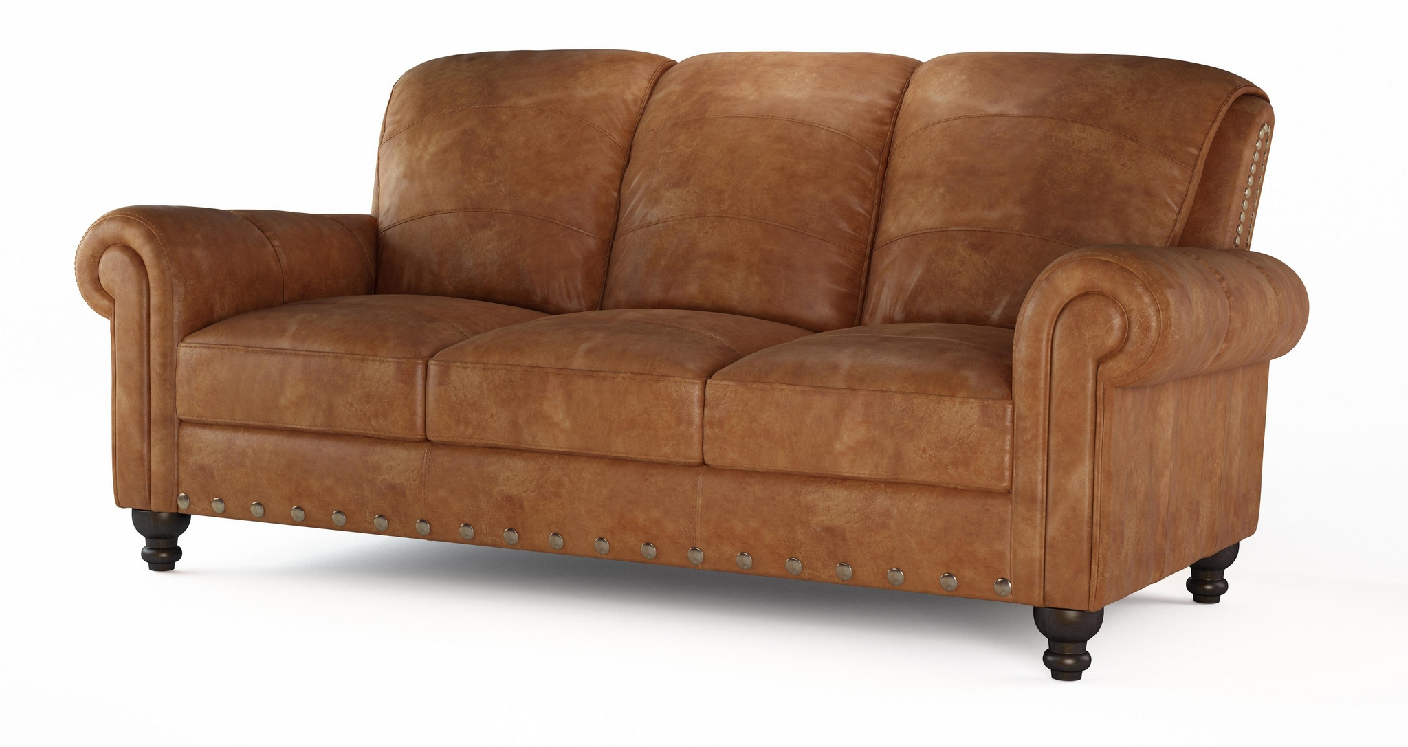 DFS PERTH 3 SEATER SETTEE 100% REAL NATURAL LEATHER TAN