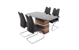 Large Fixed Top Table & 4 Cantilever Chairs