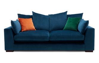 Velvet Pillow Back 3 Seater Sofa