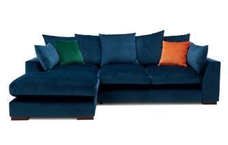 Velvet Pillow Back Left Hand Facing Small Chaise End Sofa