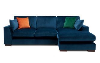Velvet Formal Back Right Hand Facing Large Chaise End Sofa