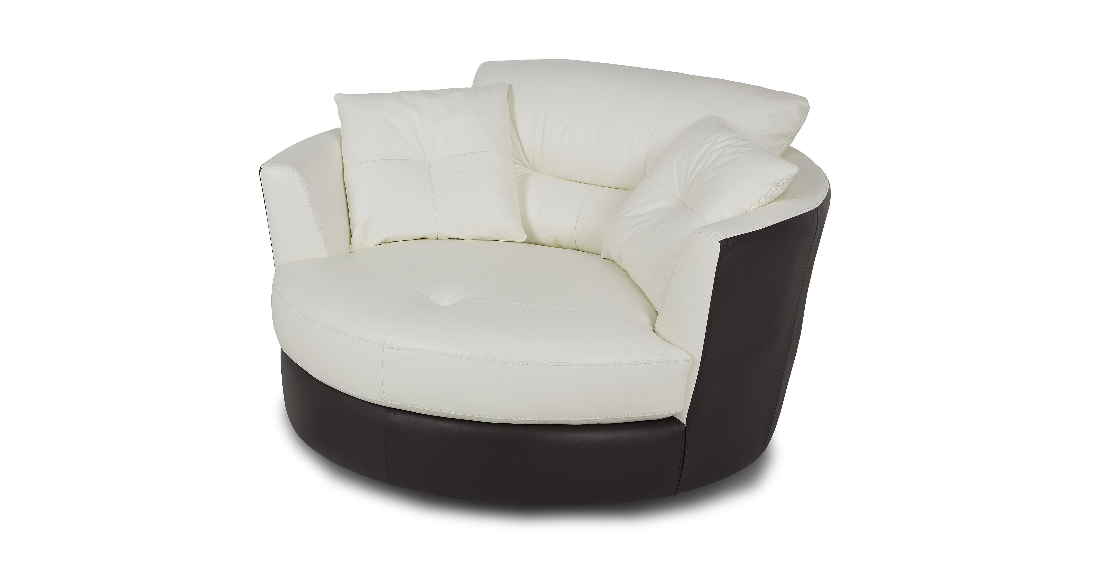 Dfs Polar Snow Leather Set Includes Large Swivel Chair
