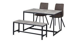 Rondo Fixed Top Table with 2 Fabric Chairs and 1 Bench