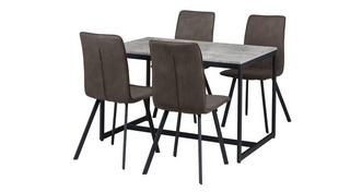 Rondo Fixed Top Table with 4 Fabric Chairs