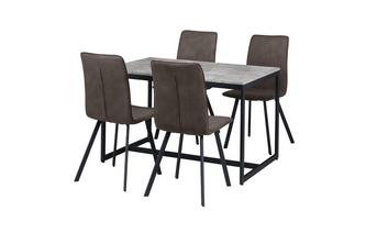 Fixed Top Table with 4 Fabric Chairs Rondo
