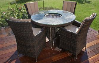 Sacramento Table & 4 Chairs with Parasol & Base PE Rattan