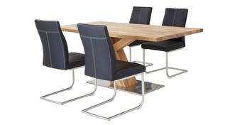 Sedgwick Fixed Top Table Angle Base & 4 Cantilever Chairs