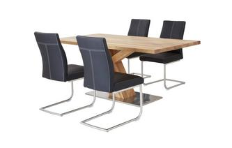 Fixed Top Table Angle Base & 4 Cantilever Chairs Sedgwick