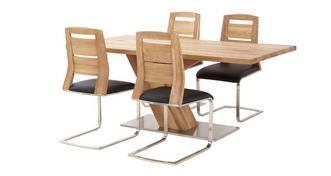 Sedgwick Fixed Top Table Angle Base & 4 Slat Back Chairs