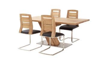 Fixed Top Table Angle Base & 4 Slat Back Chairs