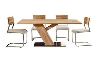 Fixed Top Table Angle Base & 4 Wood Back Chair