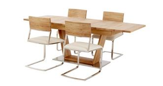 Sedgwick Extending Table Open Frame Base & 4 Wood Back Chairs