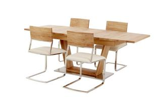 Extending Table Open Frame Base & 4 Wood Back Chairs Sedgwick