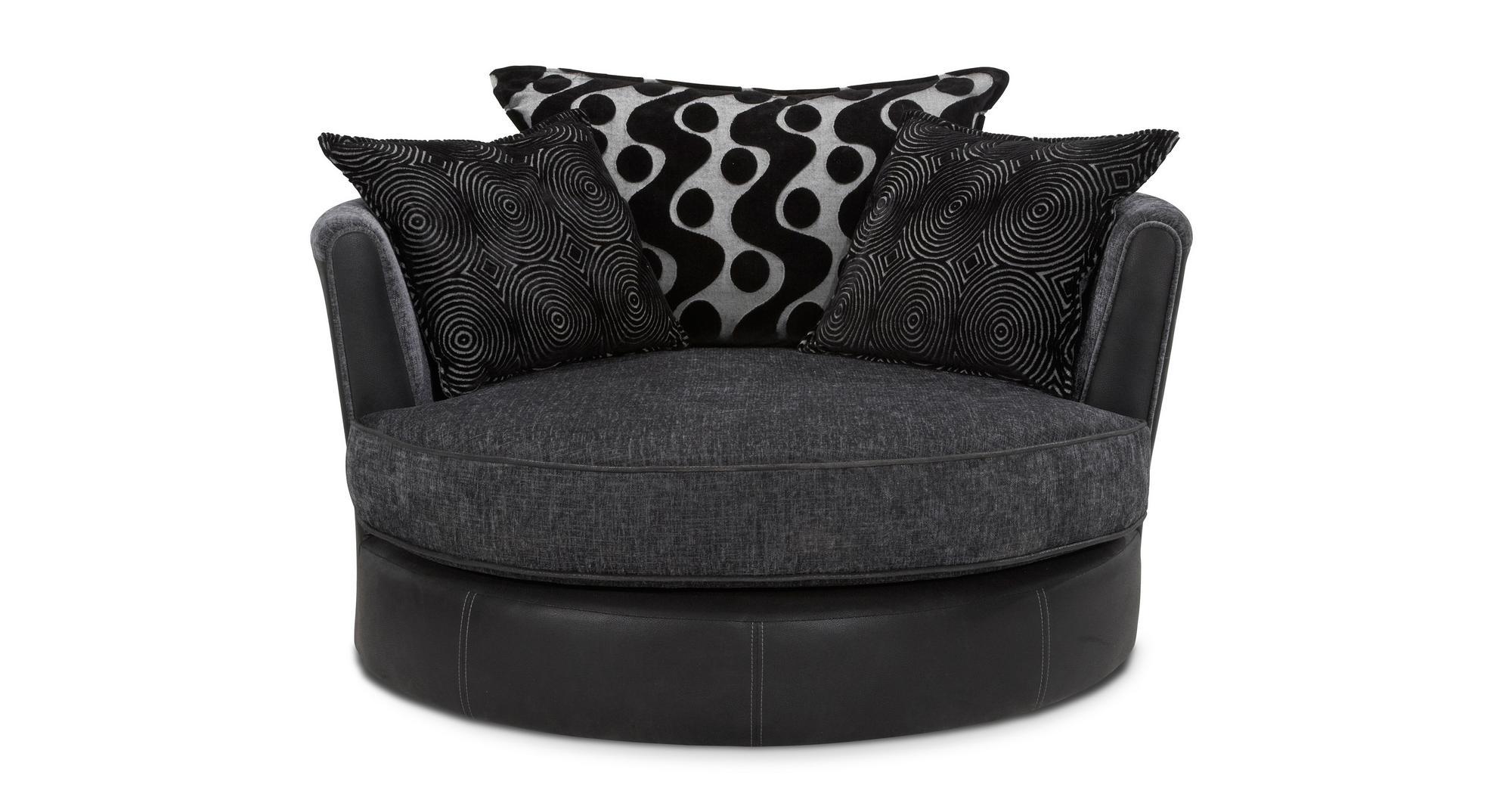Shannon Black Fabric Set Inc Corner Sofa, Swivel Chair & 2