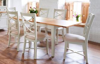 Shore Small Rectangular Extending Table & Set of 4 Cream Dining Chairs Shore