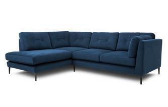 Velvet Right Hand Facing Open End Corner Sofa