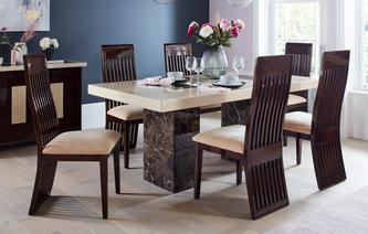 Strasbourg Rectangular Fixed Table and 4 Lima Chairs Strasbourg Marble