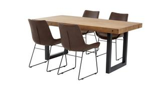 Toronto Fixed Top Table & Set of 4 Scoop Chairs