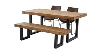 Toronto Fixed Top Table & Set of 2 Scoop Chairs and 1 Bench