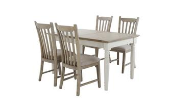 Rectangular Extending Table & Set of 4 Dining Chairs with Fabric Seat Pad Valencia