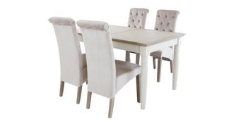 Valencia Rectangular Extending Table & Set of 4 Button Back Chairs
