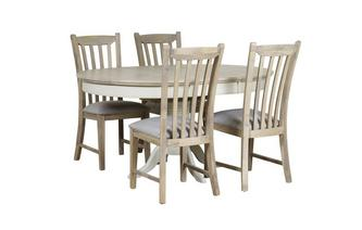Round Extending Table & Set of 4 Dining Chairs with Fabric Seat Pad
