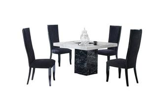 Square Table and 4 Oslo Chairs Vienna Marble