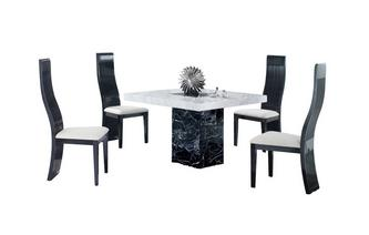 Square Table and 4 Tulsa Chairs Vienna Marble