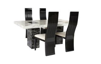 Fixed Table and 4 Tulsa Chairs Vienna Marble