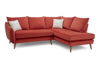 Velvet Left Hand Facing Open End Corner Sofa Yoko Velvet