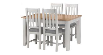Zennor Dining Medium Extending Table & 4 Chairs