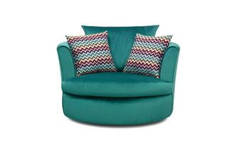 Velvet Large Swivel Chair with 2 Pattern Scatters