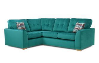 Velvet Right Hand Facing 2 Seater Corner Sofa