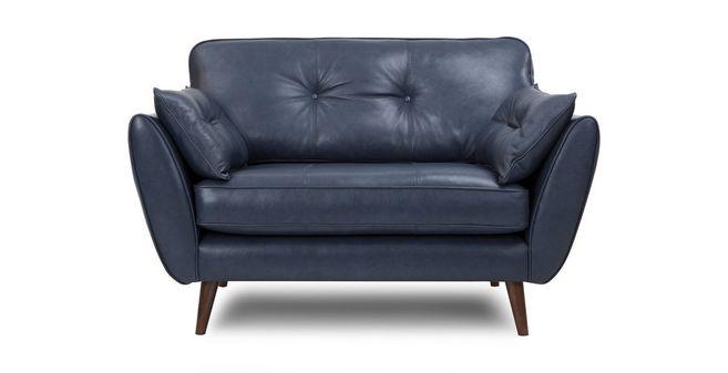 Awesome Zinc Leather Cuddler Sofa Creativecarmelina Interior Chair Design Creativecarmelinacom