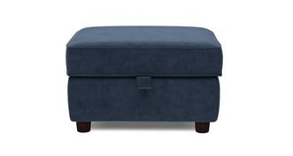 Zinc Velvet Plain Storage Footstool