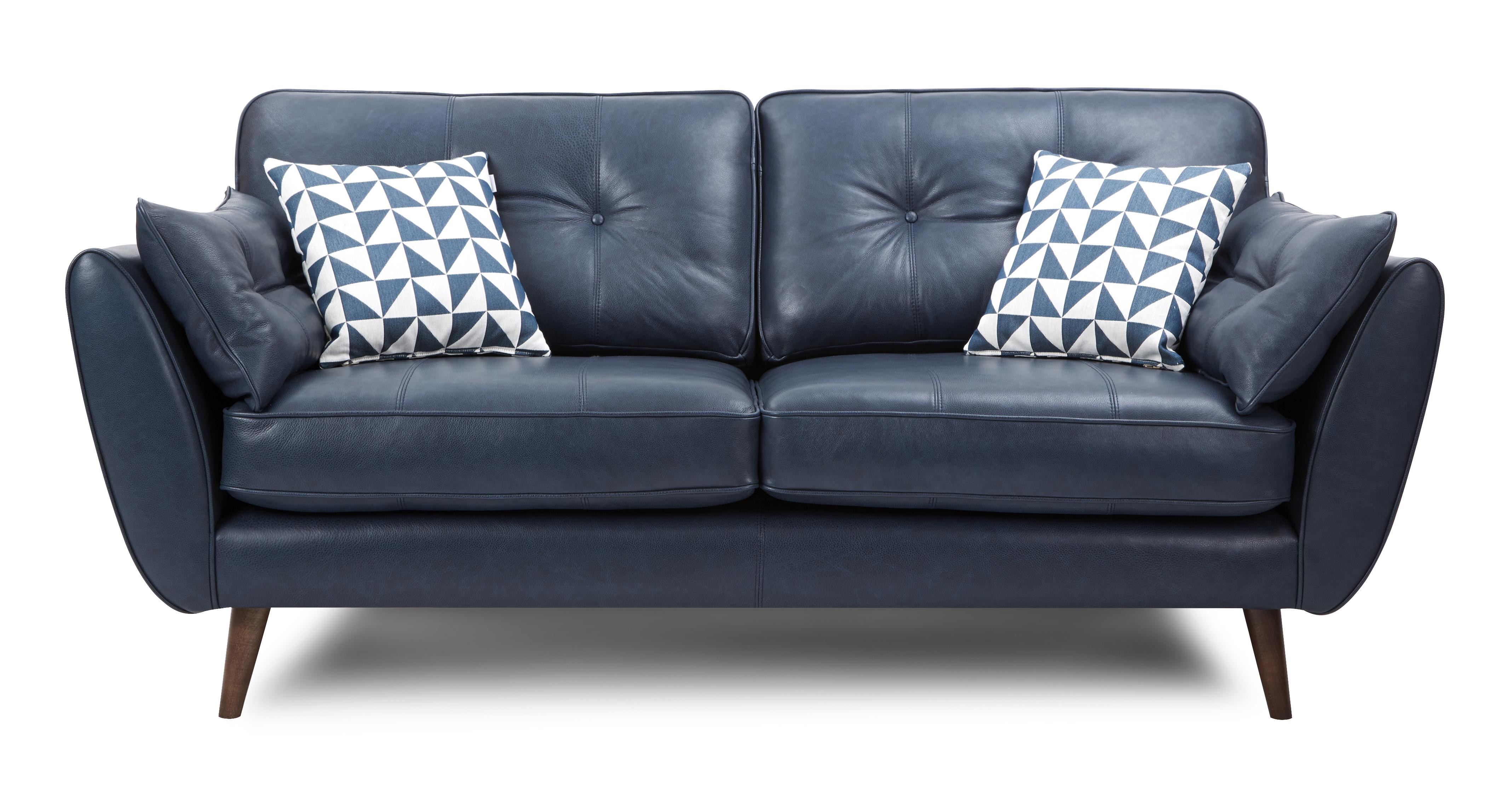 Zinc Leather 3 Seater Sofa Dfs