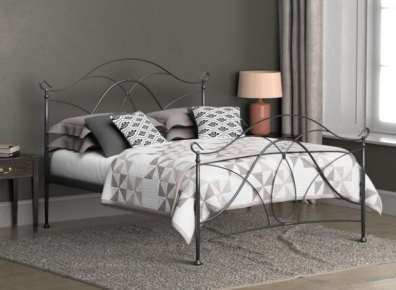 Ardo Pewter Metal Bed Frame 4'6 Double SILVER