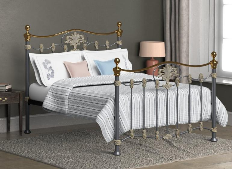 Camolin Brass Metal Bed Frame 5'0 King SILVER