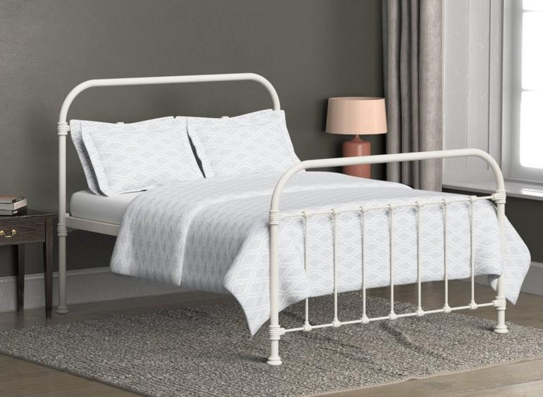 Timolin Ivory Metal Bed Frame 4'6 Double CREAM