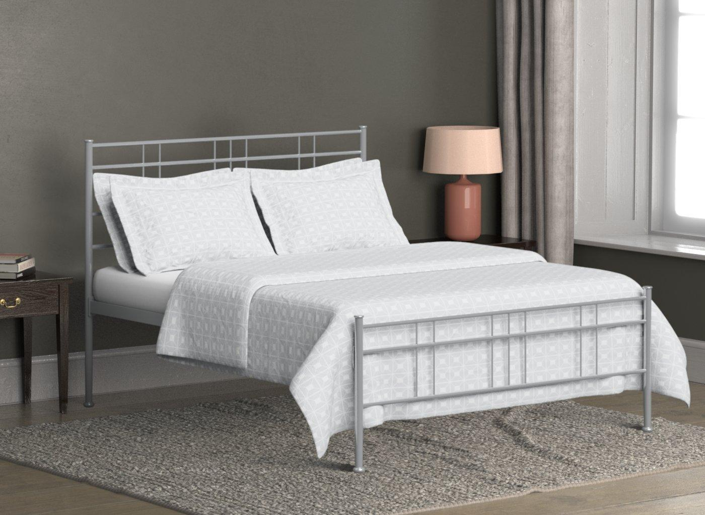 Milano Glossy Silver Metal Bed Frame 4'0 Small double