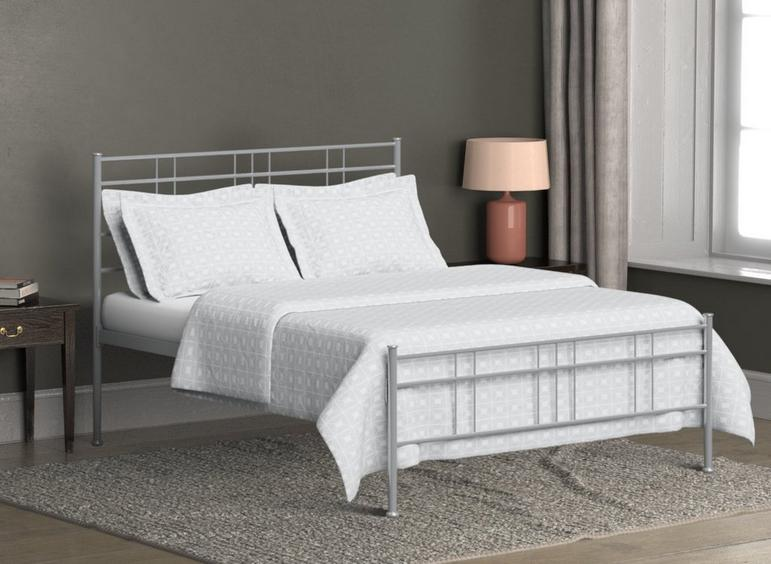 Milano Glossy Silver Metal Bed Frame 5'0 King