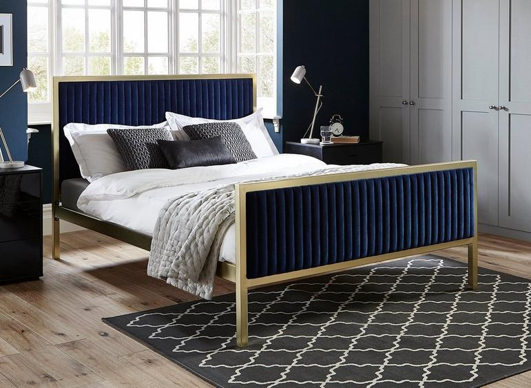 Addison Gold And Blue Metal Bed Frame 5'0 King