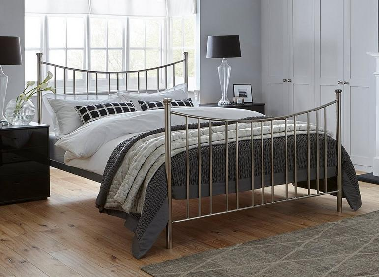 Ward Silver Metal Bed Frame 4'6 Double
